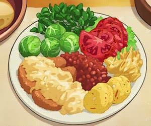 anime girl, anime food, and anime scenery image