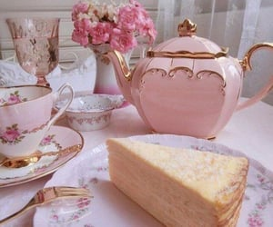 tea, pink, and cake image