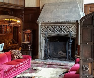 bear rug, castle, and fireplace image