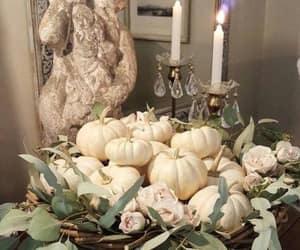 autumn, decorations, and white pumkins image