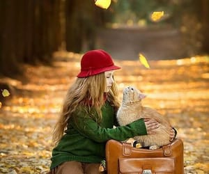 autumn, cat, and girl image