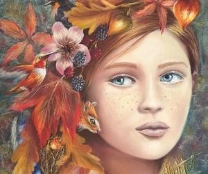 art, autumn, and firl image