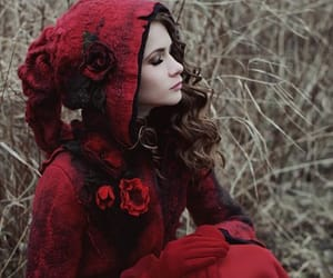 autumn, red, and woman image