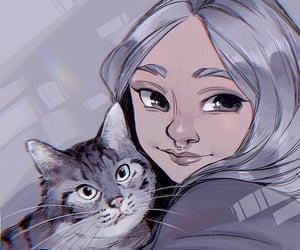 art, cat, and concept art image