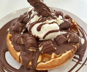 chocolate, waffles, and food image