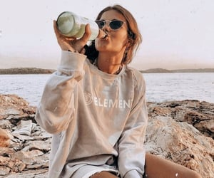 beach, drink, and fashion image