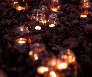 candles, fall season, and leaves image