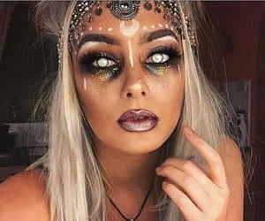 girl, make up, and mistery image