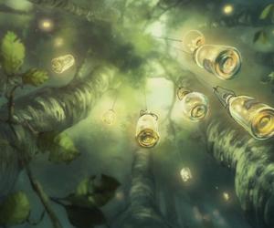 fairy, fireflies, and lanterns image