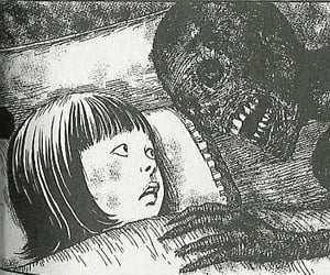 black and white, junji ito, and horror image