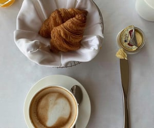 coffee, croissant, and drinks image