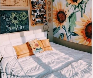 room, sunflower, and bedroom image