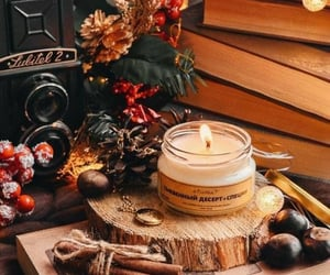 autumn, candle, and books image