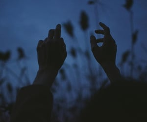 dark, hands, and blue image