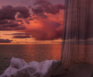 sunset, sky, and ocean image