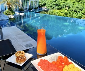 food, fruit, and poolside image