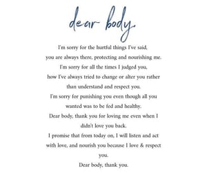quotes, body, and dear body image