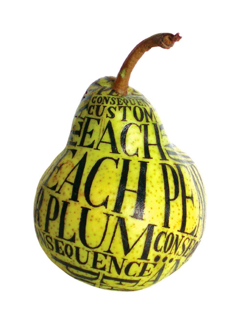 pear, typography, and fruit image