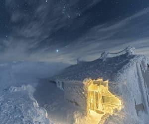 night, stars, and snow image