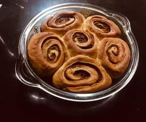cake, chocolate, and cinnamon rolls image
