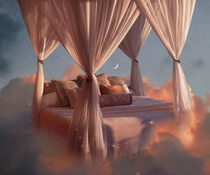aesthetic, bed, and clouds image