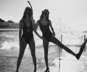 summer, beach, and black and white image