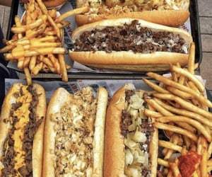 food, cheesesteak, and fries image