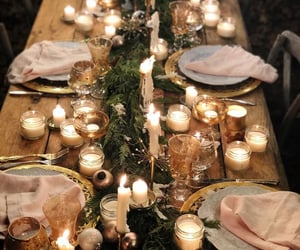 candles, dining, and table image