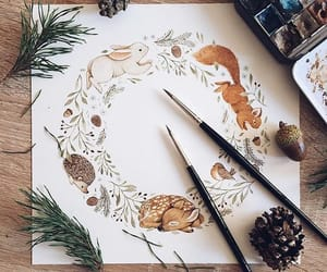 art, autumn, and bunny image