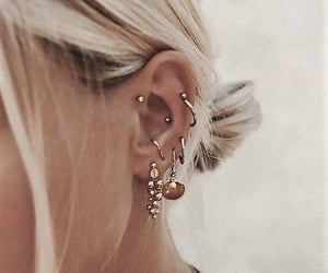 blonde, earring, and piercing image