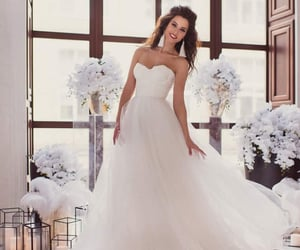 bridal gown, white lace skirt, and floral wedding dress image