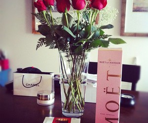 rose, chanel, and moet image