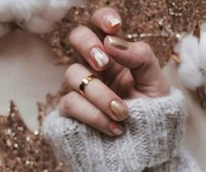 gold, ring, and nail polish image