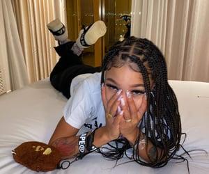 female, baddie, and box braids image