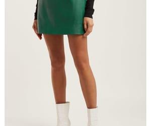 alexa chung, leather skirt, and mini skirt image