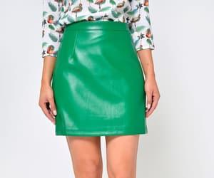 leather skirt, mini skirt, and green skirt image