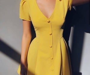 dress, yellow, and outfit image