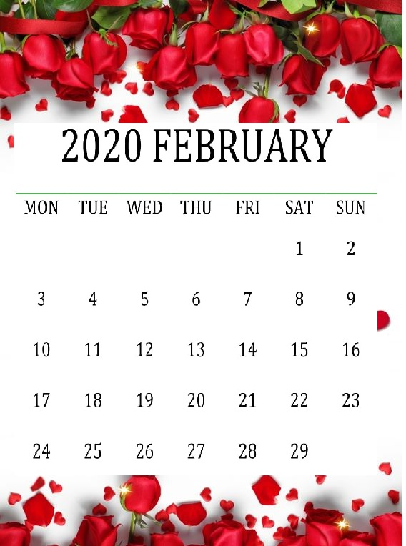 Cute February 2020 Calendar on We Heart It