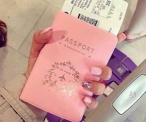 pink, passport, and nails image