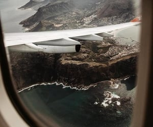travel, plane, and landscape image
