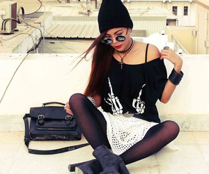 """Round Sunnies, Top, Spikes Bracelet, Vintage Crochet Skirt, Forever 21 Boots //""""FUKKK OFF//I GIVE YOU BASS ( INTO YOUR FACE )"""" by Bernadette F // LOOKBOOK.nu"""