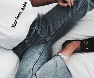 bedroom, tattoo, and white tshirt image