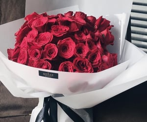 flowers, bouquet, and red image