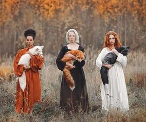 fox, woman, and animal image