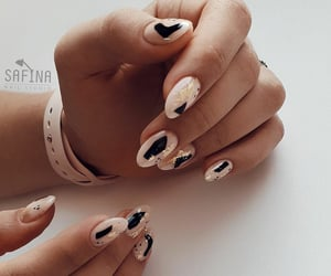 beauty, nail design, and black image