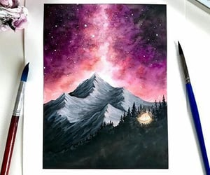 art, mountain, and galaxy image