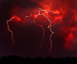red, lightning, and aesthetic image