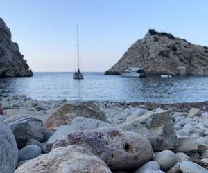 beach, boat, and ibiza image