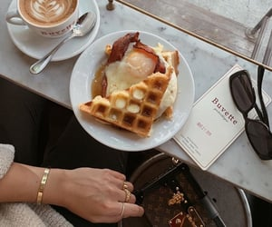 coffee, Louis Vuitton, and waffle image
