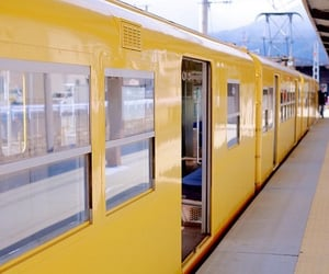 aesthetic, yellow, and train image